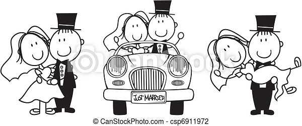 wedding, karikatur, einladung - csp6911972