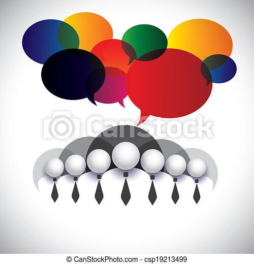 Weißer Kragen Mitarbeiter Kommunikation, Interaktion - Konzeptvektor. Die Grafik zeigt auch Menschen Konferenz, Social Media Network, Executives & Management, Vorstandsmitglieder, Corporate People - csp19213499