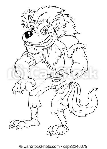 weißes, schwarz, karikatur, werwolf - csp22240879
