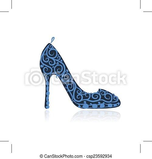 Weibliche Schuhe, Sketch für dein Design - csp23592934