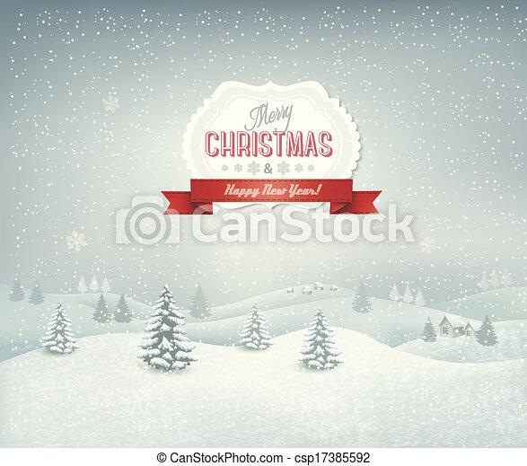 Weihnachts Hintergrund mit Winterlandschaft. - csp17385592