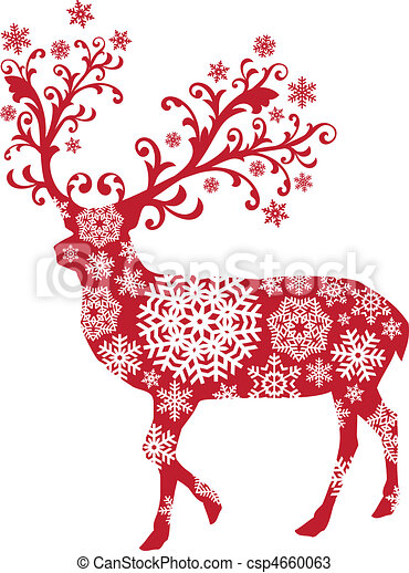 Weihnachts Rehe, Vektor - csp4660063
