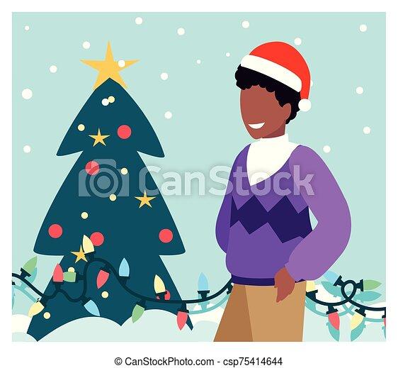 weihnachtsbaum, szene, mann - csp75414644