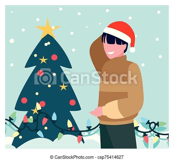 weihnachtsbaum, szene, mann - csp75414627