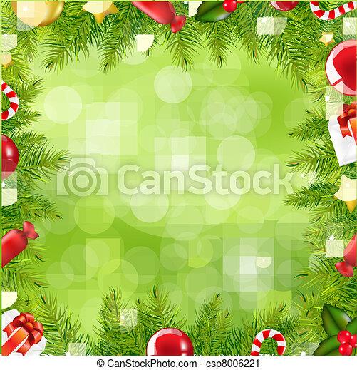 Weihnachtsbaumgrenze mit verschwommenem Fleck - csp8006221
