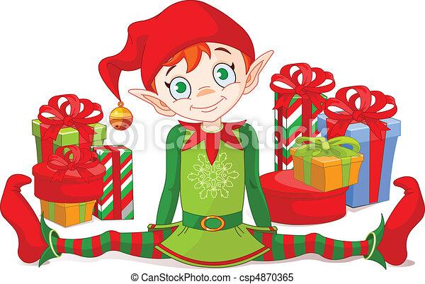 Weihnachtself mit Geschenken - csp4870365