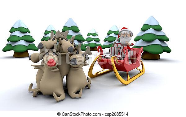 Weihnachtsmann und Geschenke. - csp2085514