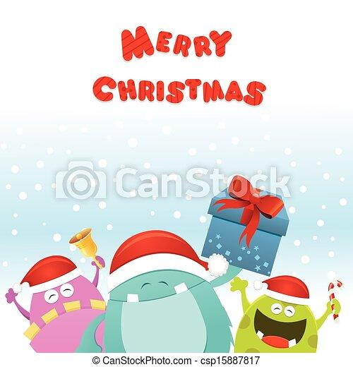 Weihnachtsmonster-Karte - csp15887817