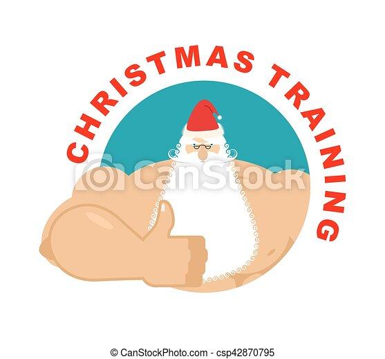 Weihnachtstraining. Starker Weihnachtsmann. Holiday Fitness. Handgelenk ist in Ordnung - csp42870795