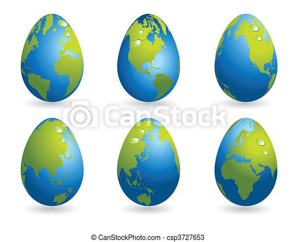 welt, eier, ostern, sammlung, landkarte - csp3727653