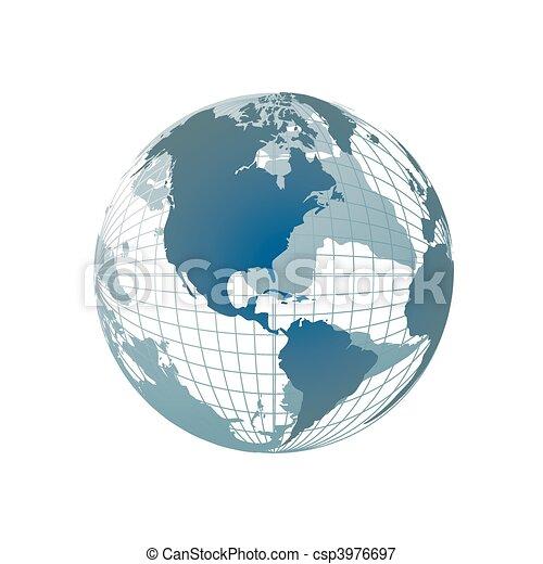 Weltkarte, 3D Globus - csp3976697