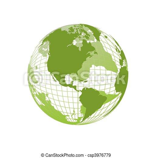 Weltkarte, 3D Globus - csp3976779