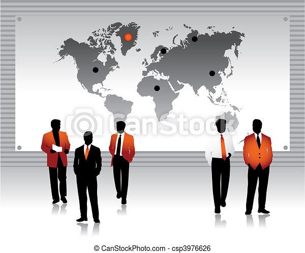 welt, silhouetten, völker, geschaeftswelt, landkarte - csp3976626