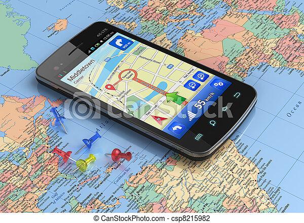 weltkarte, gps, smartphone, schifffahrt - csp8215982