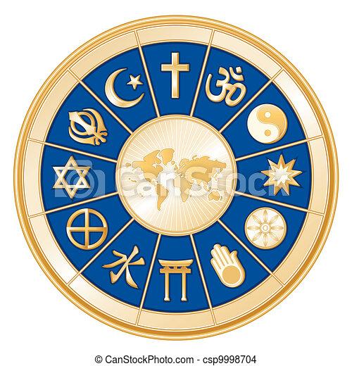 Weltkarte, Weltreligionen - csp9998704