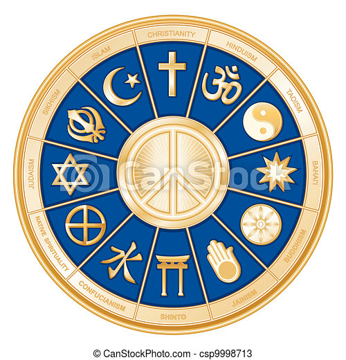 Weltreligionen, Friedenssymbol - csp9998713