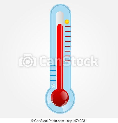 Wetter-Icons mit Sonne, Wolke und Thermometer - csp14749231