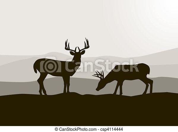 wild, hirsch, silhouette - csp4114444
