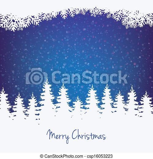 Winter Hintergrund Baumsterne und Schnee. - csp16053223