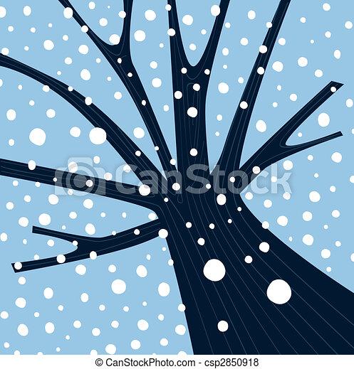 Winterbaum mit fallendem Schnee - csp2850918