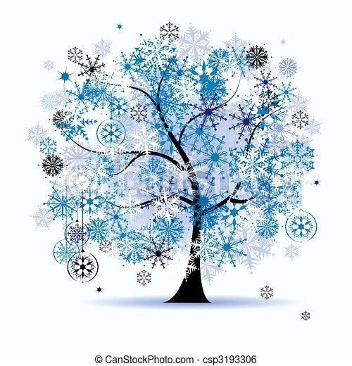 Winterbaum, Schneeflocken. Weihnachten. - csp3193306