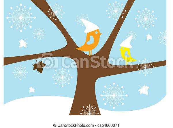 Wintervögel, Vektor - csp4660071