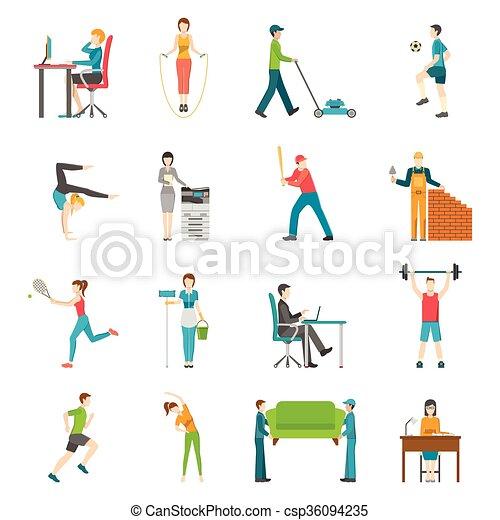wohnung, aktivität, physisch, heiligenbilder - csp36094235