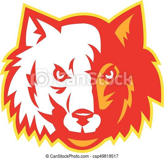 Wolf-wild-dog-head-front-retro. - csp49819517