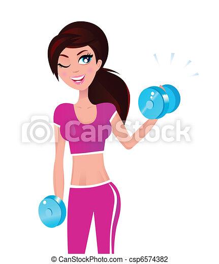Wunderschöne brünette, fitte Frau, die mit Gewichten in der Hand trainiert - csp6574382