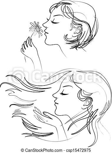 Wunderschöne Frau mit langen Haaren - csp15472975