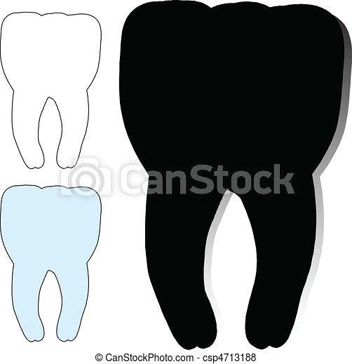 Zahnvektor-Silhouette - csp4713188