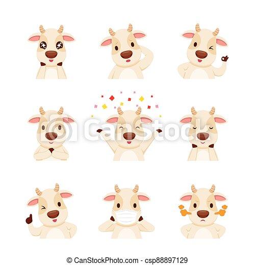 zeichen, satz, ochse, ochse, emoticons, jahr, karikatur - csp88897129