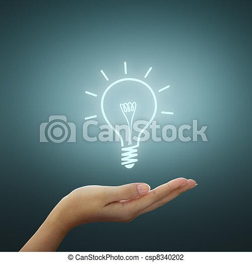 zeichnung, zwiebel, licht, idee, hand - csp8340202