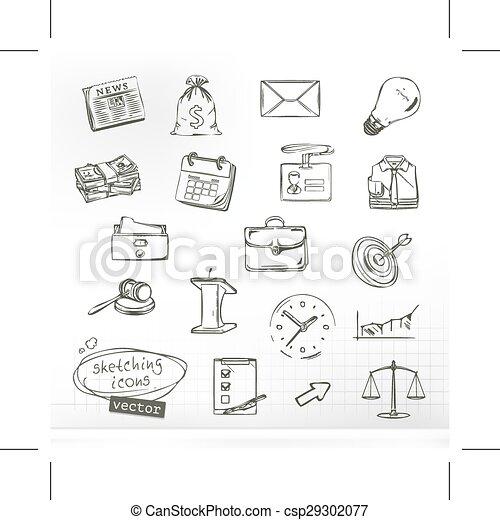 Zeichnungen von Business Icons. - csp29302077