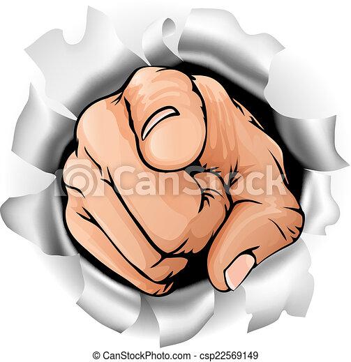 Zeigte Hand brechen Mauer. - csp22569149