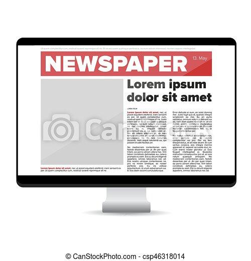 Zeitung auf dem Bildschirmcomputer. - csp46318014