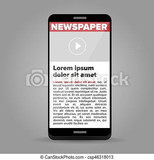 Zeitung auf dem Smartphone. - csp46318013