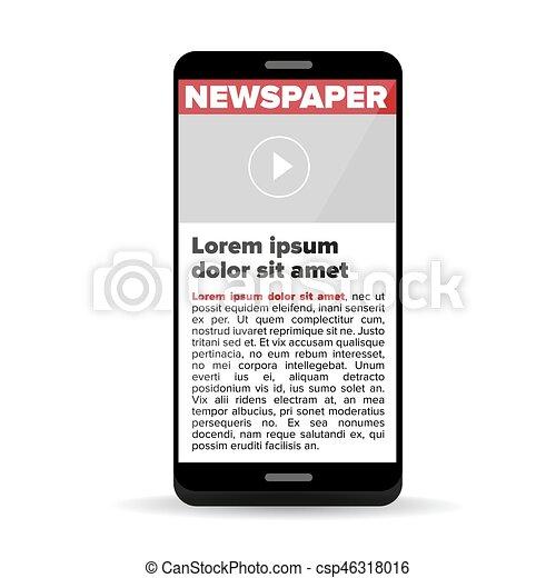 Zeitung auf dem Smartphone. - csp46318016