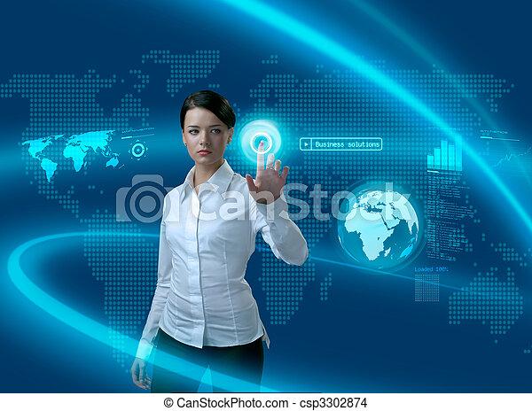 Zukünftige Geschäftslösungen, Geschäftsfrau in Interface - csp3302874