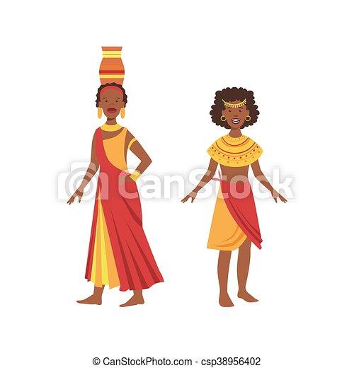 Zwei Frauen in gelben und roten Kleidern aus einem afrikanischen Stamm. - csp38956402
